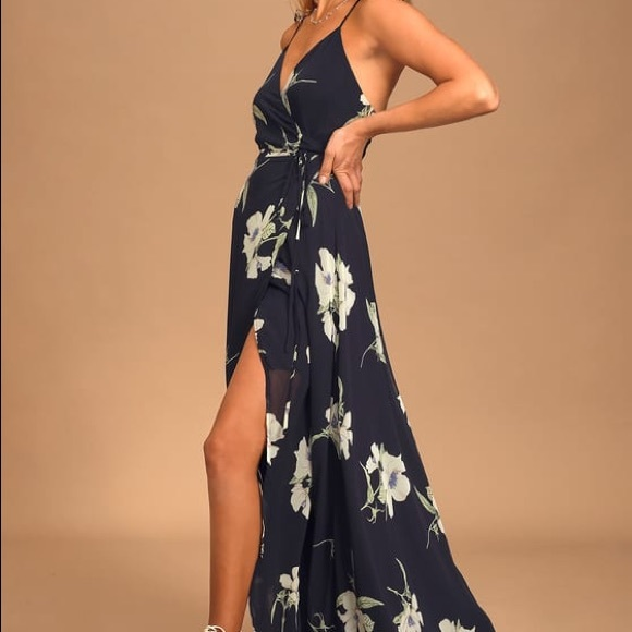 Lulu's Dresses & Skirts - All Mine Navy Blue Floral Print HighLow Wrap Dress